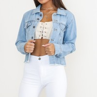 Learn To Love denim jacket in light wash Produced By SHOWPO