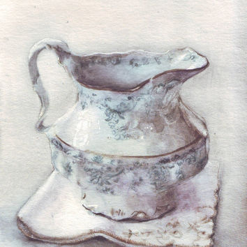 HM088 Original art watercolor painting Ceramic Pitcher by Helga McLeod