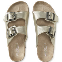 Metallic Buckle Slider Sandal