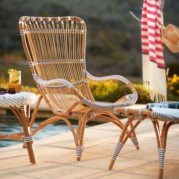 Settle-In Rattan Lounge Chair and Ottoman | VivaTerra
