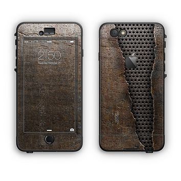 The Rustic Peeled Metal Apple iPhone 6 LifeProof Nuud Case Skin Set