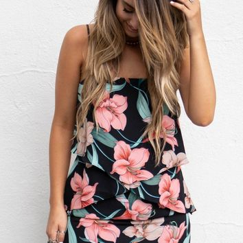 Tropic Rain Lily Print Ruffle Dress
