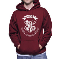 Hogwarts Crest printed use white ink on MAROON, Black, Forest Green, or navy Hoodie