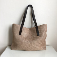 Natural Jute Bag,Ethnic Tote Bag,Boho Tote Bag,Brown Leather Strap Bag,Burlap Weekend Bag,Natural Tote Bag,Genuine  Leather Bag,Brown Bag