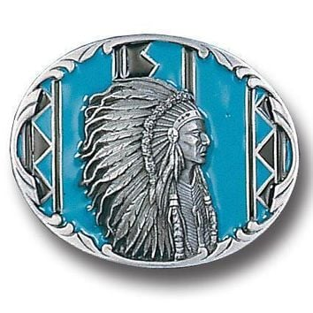 Sports Accessories - Indian Chief with Turquoise Enameled Belt Buckle