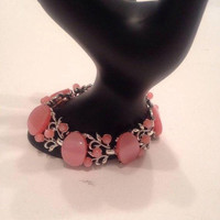 On Sale Vintage Wide Pink Lucite Bracelet Signed Star, Thermoset Chunky High End 1950's 1960's 60's Jewelry
