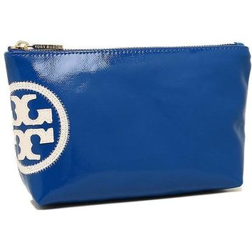 Tory Burch Beach Dipped Small Slouchy Cosmetic Bag, Jelly Blue