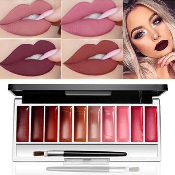 10 Color Mini Lip Gloss Set Plate Matte Makeup Waterproof Lipstick Sets Matte Long Lasting Nude Lip Gloss Tint Palette