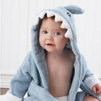Baby Aspen Let the Fin Begin Terry Shark Robe 0-9 months