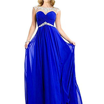MisShow A-line Sexy Backless Sparkly Crystal Long Prom Evening Dresses