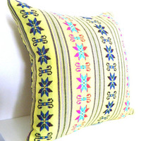 Mexican Decorative Pillow in Bright Yellow. Tribal. Aztec. Bright. 14x14 Inch. Yellow, red, pink, blue,and green.