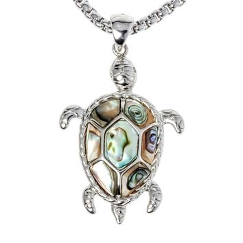 SHIPS FROM USA Natural abalone shell turtle necklace pendant W stainless steel chain jewelry birthday gifts for women her wife girlfriend I037