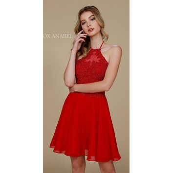 Red Homecoming Dress Short A Line Halter Top Lace