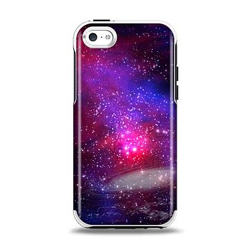 The Vivid Pink Galaxy Lights Apple iPhone 5c Otterbox Symmetry Case Skin Set