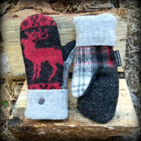 Wool Mittens, Recycled Sweater Mittens for Women Reindeer Plaid Made in Wisconsin Sweaty Mitts Black Red Upcycled Handmade Grey White Deer
