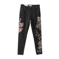 Retro Dragon Floral Embroidery Demin Skinny Jeans Woman Pencil Pants Ripped Washed Zip Pocket Button Cozy Casual Slim Trousers