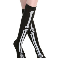 Skeleton Black Thigh Highs