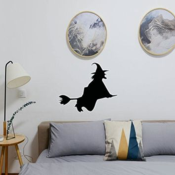 Halloween Witch Riding Broom 11 Vinyl Wall Decal - Removable (Indoor)