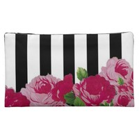 Floral stripes cosmetic case