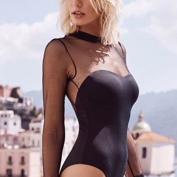 Make Some Noise Sheer Mesh Dot Pattern Long Sleeve Collar Cut Out Back One Piece Swimsuit