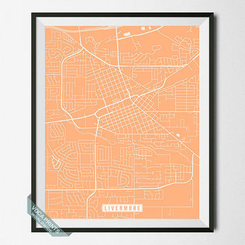 Livermore Poster, Livermore Map, California Poster, Livermore Print, California Print, California Map, Street Map, Wall Art