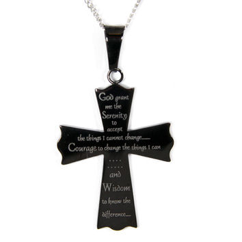 Serenity Prayer Black Cross Pendant Stainless Steel Necklace