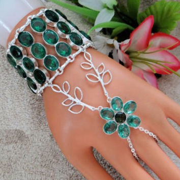 Emerald Hand Chain, Slave Bracelet, Infinity Ring, Hand Harness, Wristlet, Custom Size, Silver