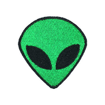 Alien Face Patch - Iron on Sew on Patch