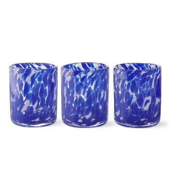 AERIN Confetti Glass Votive Holder, Set of 3, Blue
