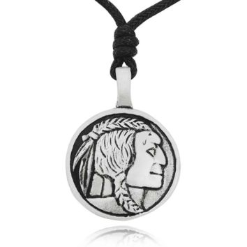 Indian Head Nickel Silver Pewter Charm Necklace Pendant .
