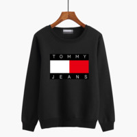"""Tommy Jeans"" Unisex Casual Letter Pattern Print Couple Thickened Round Neck Long Sleeve Sweater Tops"