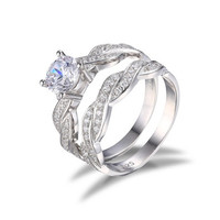 1.5ct Infinity CZ Engagement Wedding Bridal Set Ring 925 Silver Sz.5 6 7 8 9 10 11 [7981655431]