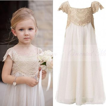 Vintage Flower Girl Dresses for Bohemia Wedding Cheap Floor Length Cap Sleeve Champagne Lace Ivory Tulle First Communion Dress