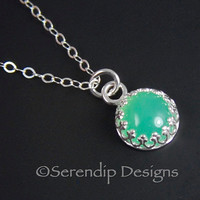 Petite Chrysoprase Pendant in Sterling Silver Gallery Wire Crown Bezel Green Gemstone Necklace GS25