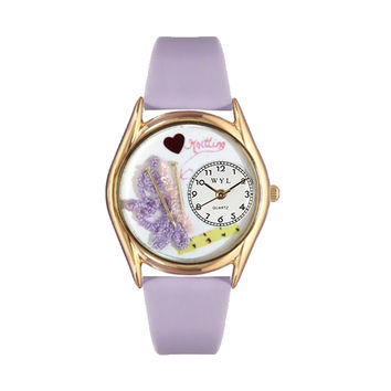 Whimsical Watches Nurse Gift Accessories Love Knitting Themed Lavender Leather And Goldtone Watch