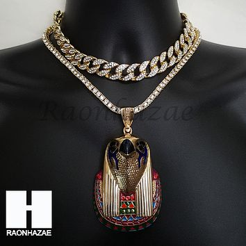 Hip Hop Iced Out Premium Kanye Horus Miami Cuban Choker Tennis Chain Necklace I