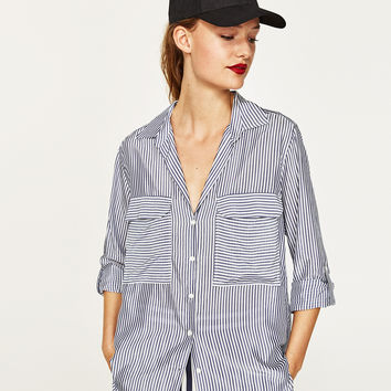 STRIPED BLOUSE WITH POCKET DETAILS