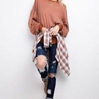 Bubble Sleeve Brushed Pullover Sweater