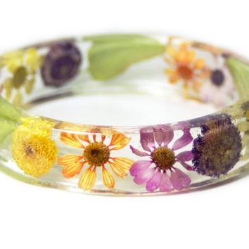 Real Flower Bracelet- Flower  Bracelet- Flower Jewelry- Resin Jewelry- Flower Bangle- Flower Bracelet