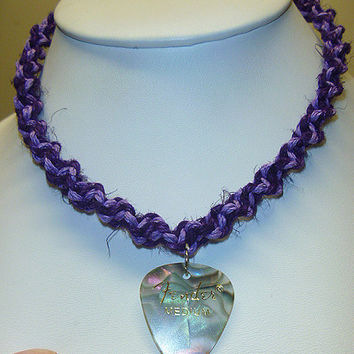 Purple and Lilac Fender Guitar Pick Hemp Necklace  CUSTOM