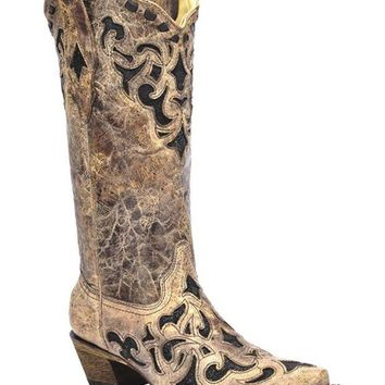 DCCKAB3 Corral Brown & Black Stingray Inlay Snip Toe Boots
