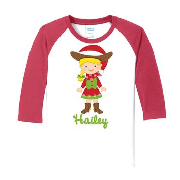 Cowgirl Christmas Blonde on Personalized White/Red Raglan Sleeve T-Shirt