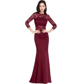 Lace Mermaid Long Evening Dress Real Image Three Quarter Sleeve Evening Gown