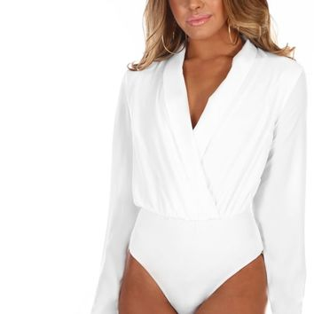 Fashion Flirt White Long Sleeve Wrap Bodysuit