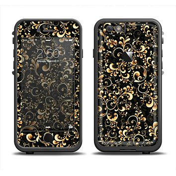 The Elegant Golden Swirls Apple iPhone 6 LifeProof Fre Case Skin Set