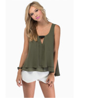Olive Womens Loose Summer Sexy Pure Color Chiffon Tanks