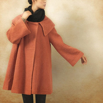 Pink Cashmere Coat Jacket, Down Collar Wool Coat, Winter Women Coat