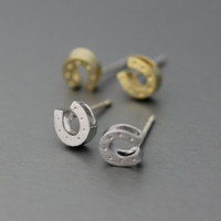 Horseshoe studs earrings, Horse Shoe style earrings, U style earrings, Silver Post Earrings  - Available color ( Silver, Gold )