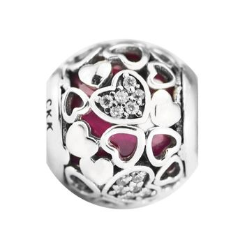Original Beads DIY Fits Bracelet Charms Beads for Jewelry Making Pink Lucky Clover Charm CKK 100% 925 Sterling-Silver-Jewelry