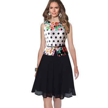 Womens Summer Vintage Elegant Belted Polka Dot Chiffon Patchwork Tunic Work Office Party Fit and Flare A-Line Dress